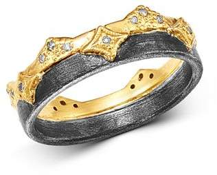Armenta 18K Yellow Gold & Blackened Sterling Silver Old World Champagne Diamond Wide Band Ring