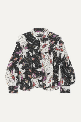 Isabel Marant Ricky Ruffled Printed Silk-blend Crepe De Chine Blouse - Black