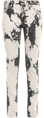 Gucci Embroidered Faded Mid-rise Slim-leg Jeans