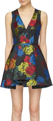 Alice + Olivia 'Tanner' floral jacquard pleated sleeveless dress