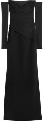Versace - Off-the-shoulder Ruched Silk-cady Gown - Black $5,375 thestylecure.com