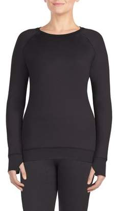 Cuddl Duds ClimateRight by reversible minky long sleeve warm underwear crew neck top
