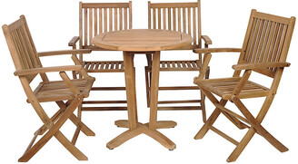 International Home Miami Kansas 5-Pc Teak Rnd. Outdoor Bistro Set