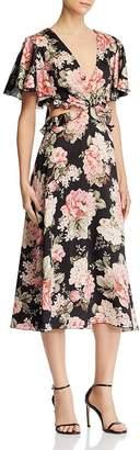 Divine Heritage Floral Flutter Sleeve Dress