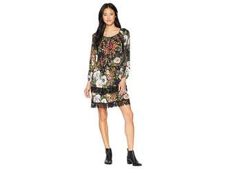Miss Me Floral Printed Dress with Lace Trim