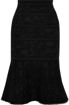 Carolina Herrera Metallic Wool-blend Jacquard Skirt