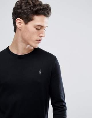 Polo Ralph Lauren slim fit pima cotton knit jumper player logo in black