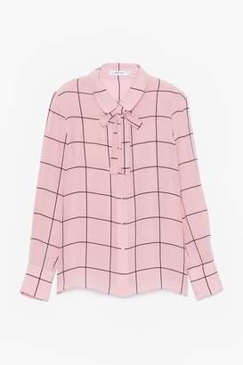 Genuine People Silk Sheer Blouse with Bow Tie