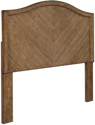 Home Meridian Camel Back Chevron Patterned Cerused Oak Queen Wood Headboard