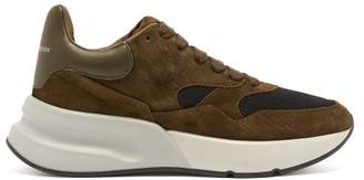Alexander McQueen Runner Raised Sole Low Top Suede And Mesh Trainers - Mens - Khaki