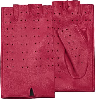 Forzieri Women's Red Perforated Fingerless Leather Gloves