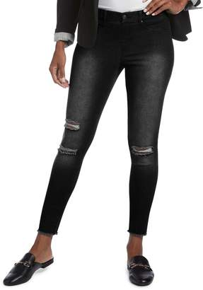 Hue Skimmer Ripped Knee Denim Leggings