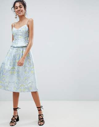 Oasis Floral Print Jacquard Midi Skirt