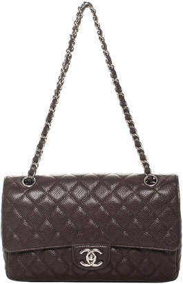 Chanel Dark Brown Quilted Caviar Leather Medium Double Flap Bag