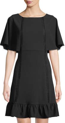 Nanette Lepore Nanette Cape-Sleeve Ladder-Stitch Flounce-Hem Dress