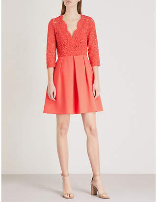 Claudie Pierlot Lace-panel crepe mini dress