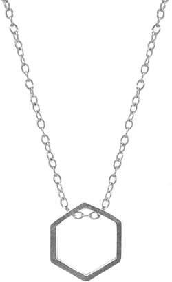 ANCHOR & CREW - Lane Hexagonal Mini Geometric Silver Necklace Pendant