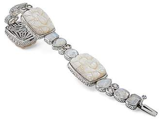 Stephen Dweck Sterling Silver White Mother of Pearl Carved Bracelet