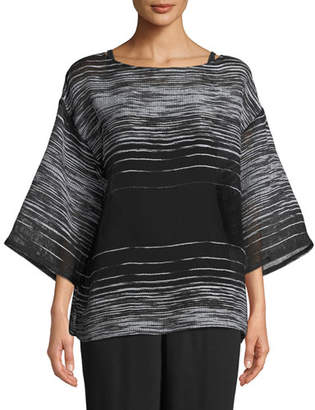 Eileen Fisher Half-Sleeve Illusion Mesh Top
