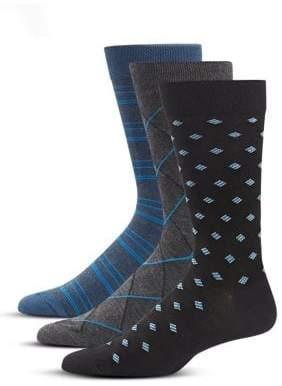 Jockey Three-Pack Geo Striped Dress Socks