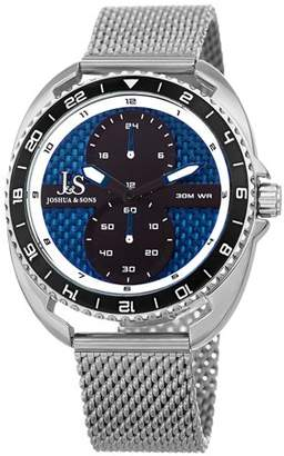 Joshua & Sons Silver Tone and Black Casual Quartz Watch With Stainless Steel Strap [JX136SSBU]