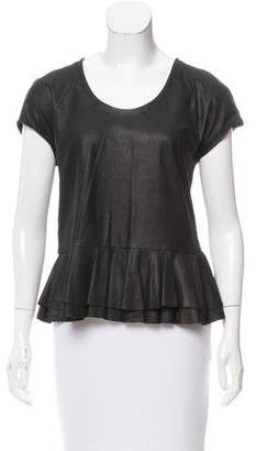 Yigal Azrouel Cut25 by Leather Peplum Top
