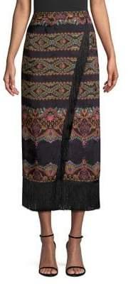 Etro Chain Paisley Silk Tassel Midi Skirt