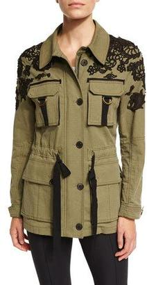 Veronica Beard Heritage Lace-Trim Utility Jacket, Olive $695 thestylecure.com