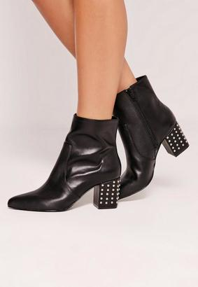 Missguided Studded Heel Ankle Boot Black, Black