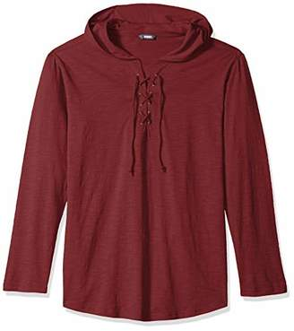 ROBUST Men's Slub Full Sleeve Hooded T-Shirt with Criss Cross Neck Detailing (Size-)