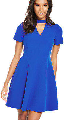 High Neck Fit And Flare Dress In Cobalt Size 8