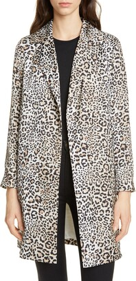 Helene Berman Leopard Print Longline Jacket