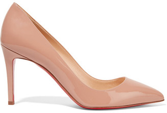 Christian Louboutin - Pigalle 85 Patent-leather Pumps - Beige $675 thestylecure.com