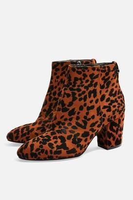 Topshop WIDE FIT BRITTNEY Leopard Unit Boots