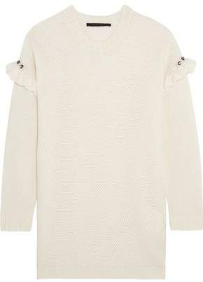 Mother of Pearl Freda Embellished Ruffle-Trimmed Waffle-Knit Wool-Blend Sweater