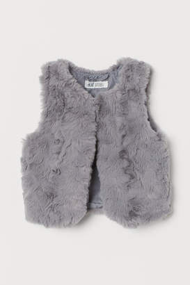 H&M Faux Fur Vest - Gray