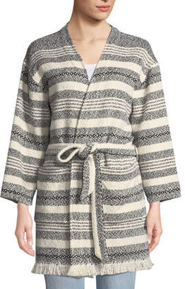 Eileen Fisher Striped Organic Cotton Bracelet-Sleeve Jacket w/ Belt