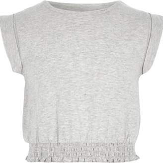 River Island Girls light grey short rolled up sleeve T-shirt