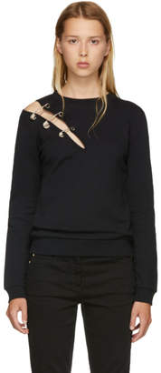 Versus Black Safety Pin Slit Sweatshirt