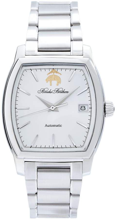 Brooks Brothers Rectangular Watch with Stainless Steel Band