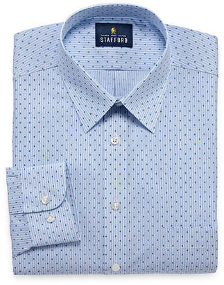 STAFFORD Stafford Travel Performance Super Long Sleeve Broadcloth Pattern Dress Shirt