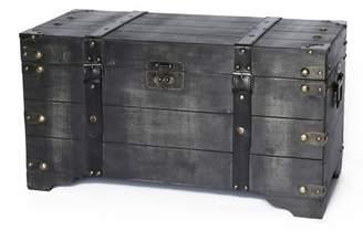 Vintiquewise Medium Wooden Storage Trunk Vintage Black