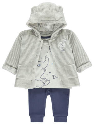 George Dumbo 3 Piece Reversible Hooded Jacket, Top and Trousers Set
