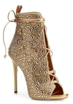 Giuseppe Zanotti Crystal-Embellished Suede Lace-Up Booties