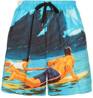 N°21 Cotton Surfer Printed Shorts