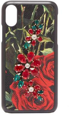 Dolce & Gabbana Crystal-embellished rose-print iPhone X case