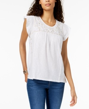 Style&Co. Style & Co Cotton Embroidered Peasant Top, Created for Macy's
