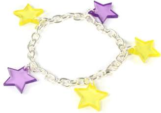 Block Silver Plated Stars Charm 20cm Bracelet