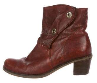 Gabor Leather Round-Toe Ankle Boots