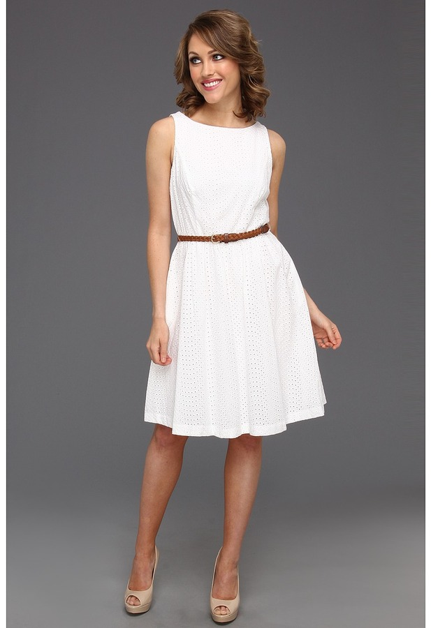 Jessica Howard Eyelet Tank Dress with Full Skirt and Belt (White) - Apparel
